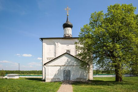 Old Russian white stone church of Boris and Gleb built in 1152 in the village of Kideksha, near the city of Suzdal. Golden ring of Russia 写真素材