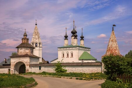 Alexander Monastery in Suzdal. Church of Ascension of the Lord, bell tower and Holy Gates in old Russian monastery of St. Alexander. Suzdal, Golden Ring of Russia