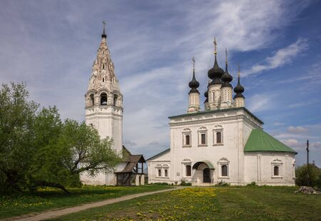 Church of the Ascension and bell tower in Alexander Monastery in Suzdal. Architecture of old Russian monastery of St. Alexander. Suzdal, Golden Ring of Russia 写真素材
