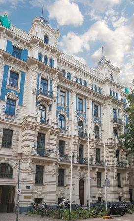 Riga Art Nouveau (Jugendstil), house on Strelnieku Street (Strelnieku iela), richly decorated with stucco decorations and female figures, architect M. Eisenstein