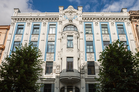 Riga Art Nouveau (Jugendstil), decorated with stucco moldings on facade of the house of Alberta Street (Alberta iela), 8, architect M.Eyzenshteyn