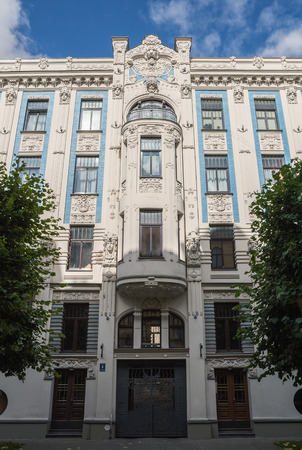 Riga Art Nouveau (Jugendstil), decorated with stucco moldings on facade of house of Alberta Street (Alberta iela), 8, architect M.Eyzenshteyn