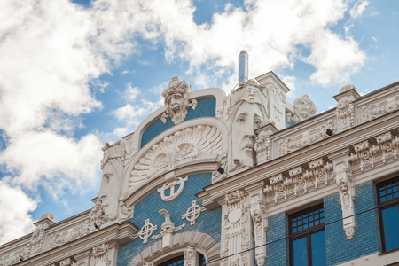 Riga art Nouveau (Jugendstil), fragment of facade of  famous house with womens faces on Elizabetes street (Elizabetes iela), 10B, architect M. Eisenstein 報道画像