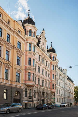 RIGA, LATVIA - SEPTEMBER 01, 2014: Riga Art Nouveau (Jugendstil), pink house with bay windows and turrets on Elizabetes street (Elizabetes iela), 6.