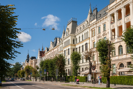RIGA, LATVIA - SEPTEMBER 01, 2014: Riga Art Nouveau (Jugendstil), beautiful houses with turrets and mansards on Elizabetes Street (Elizabetes iela) on a sunny day