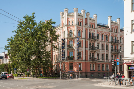RIGA, LATVIA - SEPTEMBER 01, 2014: Riga Art Nouveau (Jugendstil), beautiful corner house with turrets on the Elizabetes street (Elizabetes iela), Monica Hotel 報道画像