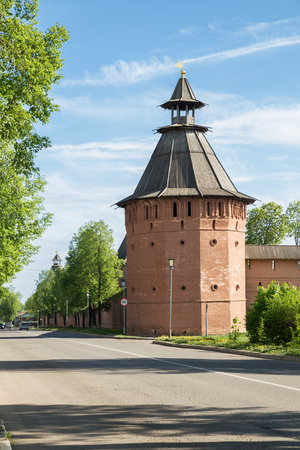Suzdal, corner tower of fortress wall of Saint Euthymius monastery. Lenin Street, main street of city, runs along the monastery wall. Golden ring of Russia, Vladimir region
