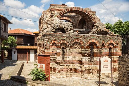 Ruins of the ancient Church of the Holy Archangels Michael and Gabriel in the old town of Nessebar, Bulgaria