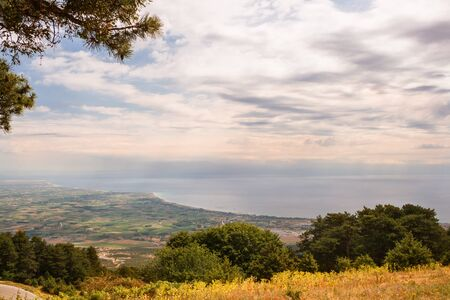 View from slope of Mount Olympus to coast of the Aegean Sea, Greece