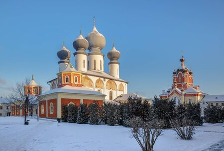 Tikhvin Assumption Monastery, cathedral of the Dormition of the Mother of God and Church of the Exaltation of the Holy Cross., Leningrad region, Russia