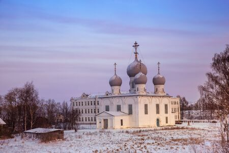 Transfiguration (Spaso-Preobrazhensky) Cathedral on a winter evening at sunset. Belozersk, Russia 写真素材