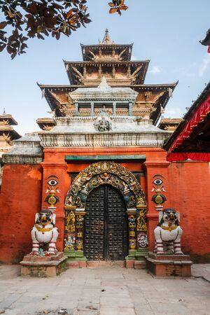 Lion statues near the gate of Taleju temple, Durbar square in Kathmandu, Nepal
