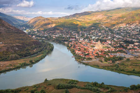 Aerial view of the ancient city of Mtskheta near the confluence of the Aragvi and Kura rivers. Georgia country
