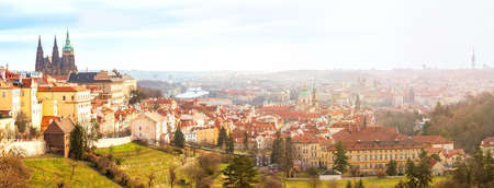 Panoramic view from the Strahov Monastery of the old town and bridges over the Vltava, from Prague Castle to the TV tower