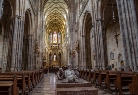 PRAGUE - MARCH 10, 2020: Interior of St. Vitus Cathedral in Prague. Main nave and tombstone of St. Adalbert (Vojtech) 報道画像