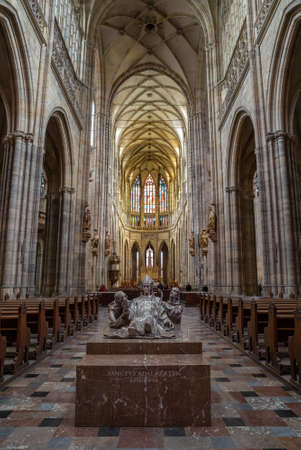 PRAGUE - MARCH 10, 2020: Main nave and tombstone of St. Adalbert (Vojtech) in St. Vitus cathedral