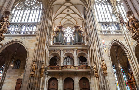 PRAGUE - MARCH 10, 2020: Interior of St. Vitus Cathedral in Prague. Organ in St. Vitus cathedral