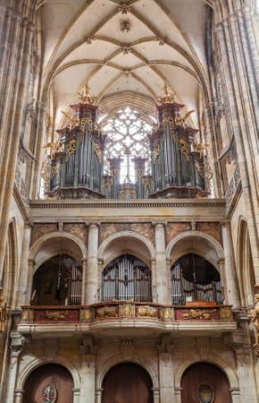 PRAGUE - MARCH 10, 2020: Interior of St. Vitus Cathedral in Prague, pipe organ