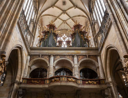 PRAGUE - MARCH 10, 2020: Pipe organ in St. Vitus cathedral
