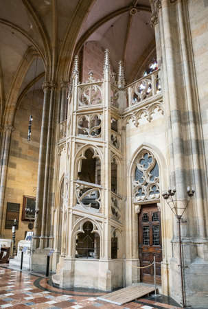 PRAGUE - MARCH 10, 2020: St. Vitus Cathedral in Prague. Interior detail, spiral staircase 報道画像