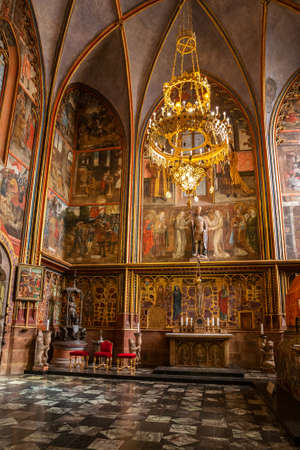 PRAGUE - MARCH 10, 2020: Interior of St. Vitus Cathedral in Prague. Chapel of St. Wenceslas 報道画像
