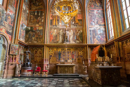 PRAGUE - MARCH 10, 2020: Chapel of St. Wenceslas in St. Vitus Cathedral in Prague