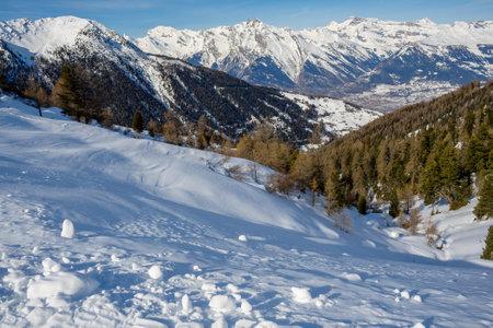 Winter in the mountains. Beautiful winter alpine landscape, Swiss Alps, 4 valleys