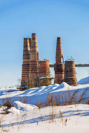 Ruins of an abandoned marble and lime factory in Ruskeala, Karelia 免版税图像