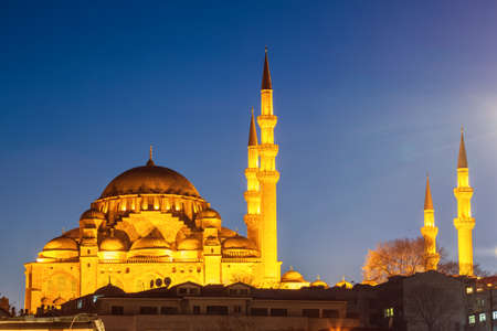 Suleymaniye Mosque with night illumination. The largest mosque in Istanbul, Turkey