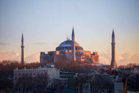Hagia Sophia in Istanbul, view at sunset. The world famous monument of Byzantine architecture.