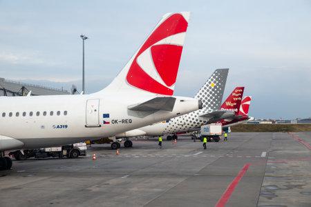 PRAGUE, CZECH REPUBLIC - MARCH 09, 2020: Passenger planes of different airlines stand at Vaclav Havel Prague International Airport