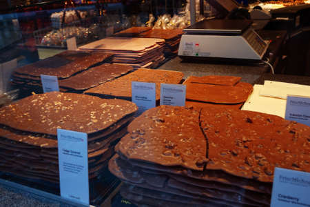 LUCERNE, SWITZERLAND - FEBRUARY 2010: Shop window with various kinds of handmade Swiss chocolate