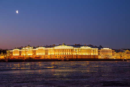 Famous Senate and Synod building with night illumination, St. Petersburg, Russia 免版税图像