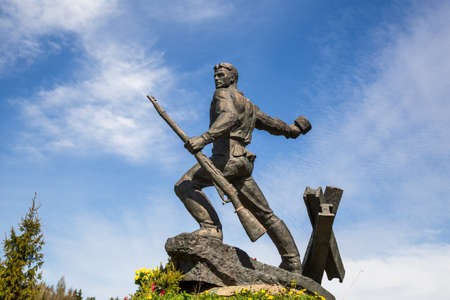 BOLSHIE BORNITSY, RUSSIA - MAY 22, 2020: memorial Bornitsky line of defense was established in 1990 in honor of feat of border guard cadets who died in battles on outskirts of Leningrad in August 1941 新闻类图片