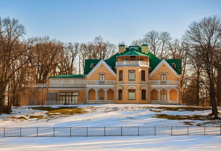 PETERHOF, SAINT PETERSBURG, RUSSIA - MARCH, 2021: Imperial Summer Palace-cottage in Alexandria Park in early spring