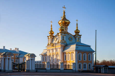 PETERHOF, SAINT-PETERSBURG, RUSSIA - MARCH, 2021: Church of Peter and Paul, palace church of the Great Imperial Palace in Peterhof