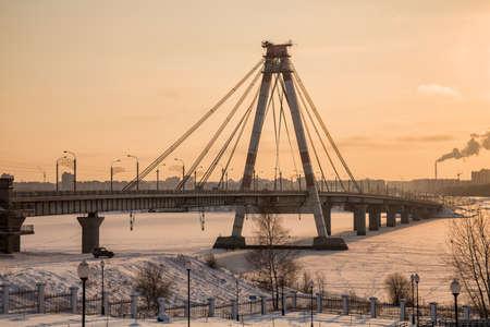 October bridge in Cherepovets across the Sheksna river, Vologda region, Russia