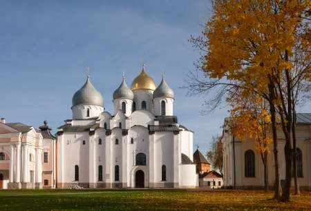 St. Sophia Cathedral in the Novgorod Kremlin on a sunny autumn October day. Veliky Novgorod, Russia