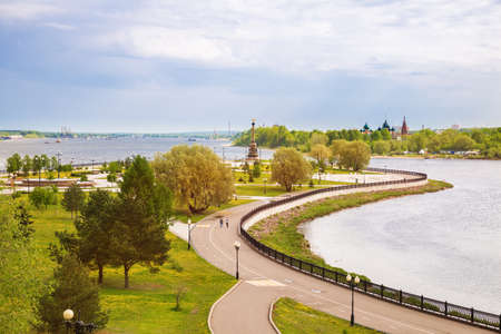 Beautiful view of the Strelka Park in Yaroslavl on cape at confluence of the Volga and Kotorosl rivers. Golden Ring of Russia.