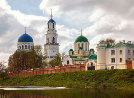 View of the temples of the Holy Dormition Tikhonov Hermitage, an ancient monastery in the Kaluga region, Russia