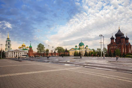 Central square of City of Tula. View of Tula Kremlin and temples of former Assumption Monastery - the Assumption Cathedral and Transfiguration Church
