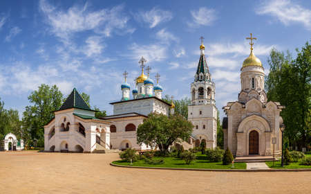 Ancient Church of the Annunciation of the 17th century and a modern chapel Martyrs Infants Bethlehem in Pavlovskaya Sloboda, Moscow region, Russia