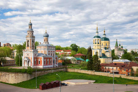 Serpukhov, three churches on the Cathedral Hill - Assumption, Elijah the Prophet and Trinity, view from the Serpukhov Kremlin. Moscow region, Russia