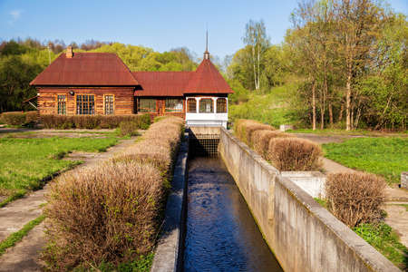 Old rural hydroelectric power station, one of the first rural hydroelectric power plants in the USSR. Yaropolets, Moscow region, Russia