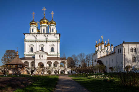Joseph Volotsky Monastery, the Assumption Cathedral and the Church of the Epiphany. Teryaevo village, Moscow region, Russia 免版税图像