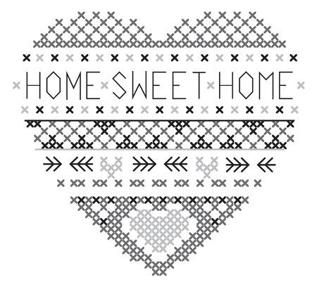 heart home sweet home fair isle grey and black