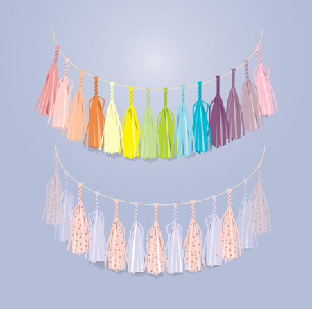 tassel: multicolored festive garland of tissue paper Illustration