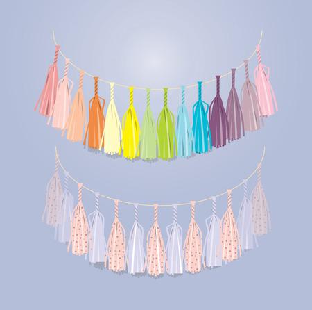 multicolored festive garland of tissue paper Illustration