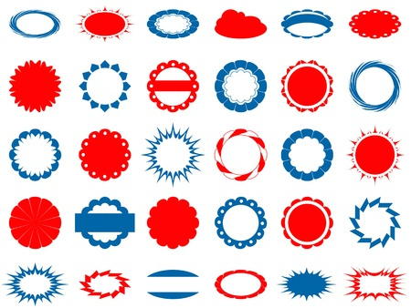 set of 30 blue and red labels, oval and round shape photo