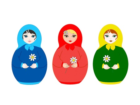three beautiful dolls Matryoshka on white background photo
